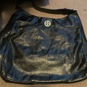 Distressed blackTORY BURCH PURSE -Poshmark resale